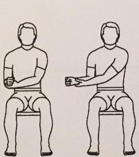حرکت دادن شانه آسیب دیده در حالت نشسته: