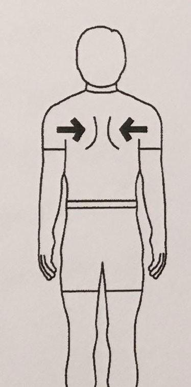 به سمت عقب بردن کتف ها در حالت ایستاده (بازوها باید در کنار بدن قرار گرفته باشند)