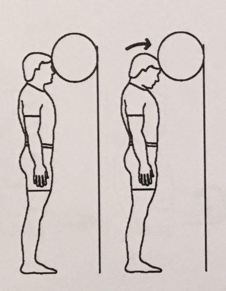 خم کردن گردن روی توپ، کنار دیوار